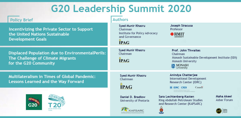 Policy Briefs for G20 Leadership Summit